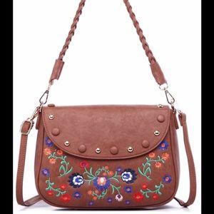 Handbags - Boho Floral Embroidered Crossbody Bag - Brown